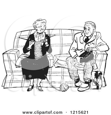 Retro Vector Clipart of a Vintage Teenage Boy Talking to a Knitting Lady in Black and White - Royalty Free Illustration by Picsburg