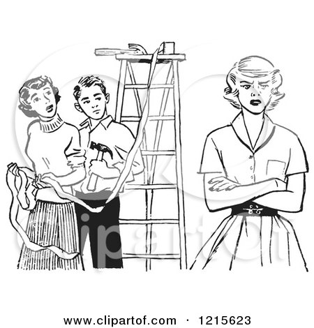 Retro Vector Clipart of a Vintage Teenage Girl Pouting While Decorating for Prom in Black and White - Royalty Free Illustration by Picsburg