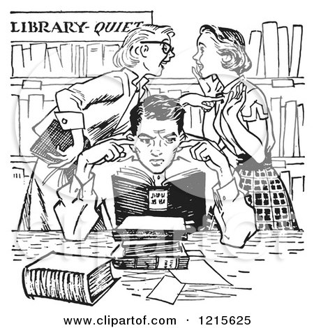 Retro Vector Clipart of Vintage Teenage Girls Gossiping Behind a Boy Covering His Ears in a Library in Black and White - Royalty Free Illustration by Picsburg
