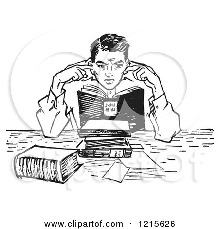 Retro Vector Clipart of a Vintage Teenage Boy Plugging His Ears in a Noisy Library in Black and White - Royalty Free Illustration by Picsburg