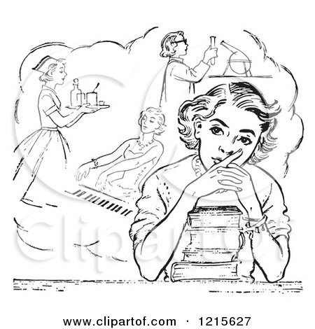 Retro Vector Clipart of a Vintage Teen High School Girl Daydreaming of Careers over Books in Black and White - Royalty Free Illustration by Picsburg