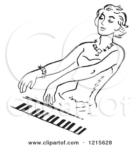 Retro Vector Clipart of a Vintage Woman Playing a Pianio in Black and White - Royalty Free Illustration by Picsburg