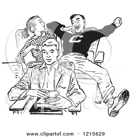 Retro Vector Clipart of a Vintage Teenage High School Boy Yawning Rudely in Class in Black and White - Royalty Free Illustration by Picsburg