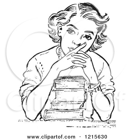 Retro Vector Clipart of a Vintage Teen High School Girl Thinking over Books in Black and White - Royalty Free Illustration by Picsburg
