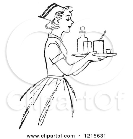 Retro Vector Clipart of a Vintage Nurse Carrying a Tray with Medicine in Black and White - Royalty Free Illustration by Picsburg