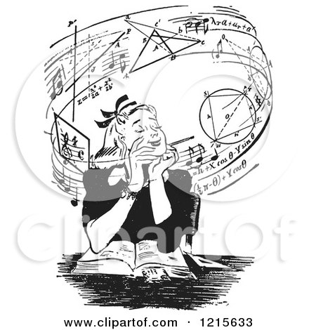 Retro Vector Clipart of a Vintage Teen Girl Daydreaming of Music and Mathmatics over a Book in Black and White - Royalty Free Illustration by Picsburg
