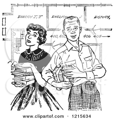Retro Vector Clipart of a Vintage Teenage Couple with Books and School Blueprints in Black and White - Royalty Free Illustration by Picsburg