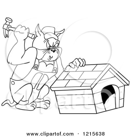 Clipart of an Outlined Carpenter Bulldog Building a House - Royalty Free Vector Illustration by LaffToon