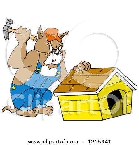 Clipart of a Carpenter Bulldog Building a House - Royalty Free Vector Illustration by LaffToon