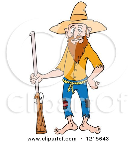 Clipart of a Hillbilly Man Standing with a Rifle and a Hand on His Hip - Royalty Free Vector Illustration by LaffToon