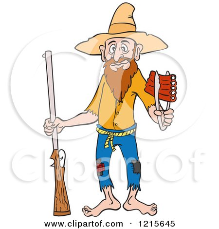 Clipart of a Hillbilly with a Rifle, Holding Ribs with Tongs - Royalty Free Vector Illustration by LaffToon