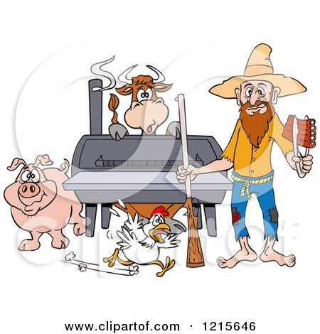 Clipart of a Hillbilly Man with a Rifle, Holding Ribs by a Bbq Smoker with a Cow Chicken and Pig - Royalty Free Vector Illustration by LaffToon