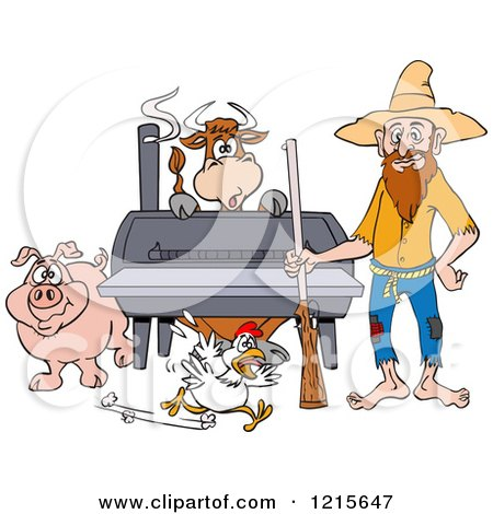 Clipart of a Hillbilly Man with a Rifle, Standing by a Bbq Smoker with a Cow Chicken and Pig - Royalty Free Vector Illustration by LaffToon