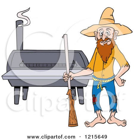 Clipart of a Hillbilly Man with a Rifle, Standing by a Bbq Smoker - Royalty Free Vector Illustration by LaffToon