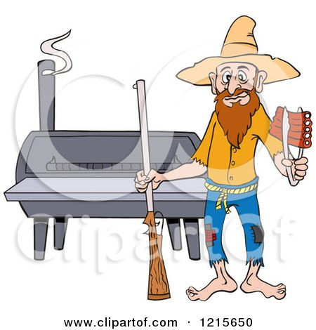 Clipart of a Hillbilly Man with a Rifle, Holding Ribs by a Bbq Smoker - Royalty Free Vector Illustration by LaffToon