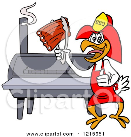 Clipart of a Bbq Firefighter Chicken Holding up Ribs by a Smoker - Royalty Free Vector Illustration by LaffToon