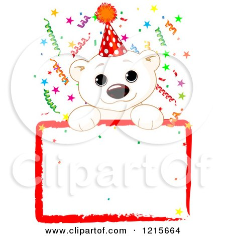 Clipart of a Cute Polar Bear Cub Wearing a Party Hat over a Blank Sign with Colorful Confetti - Royalty Free Vector Illustration by Pushkin