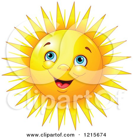 Clipart of a Happy Blue Eyed Sun with Bunched up Cheeks - Royalty Free Vector Illustration by Pushkin