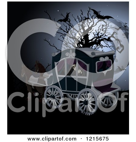 Clipart of a Grim Reaper Riding in a Horse Drawn Carriage by a Bare Tree with Bats and a Full Moon - Royalty Free Vector Illustration by Pushkin