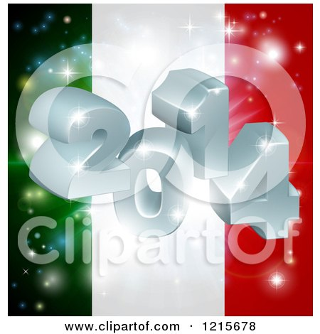 Clipart of a 3d 2014 and Fireworks over an Italy Flag - Royalty Free Vector Illustration by AtStockIllustration