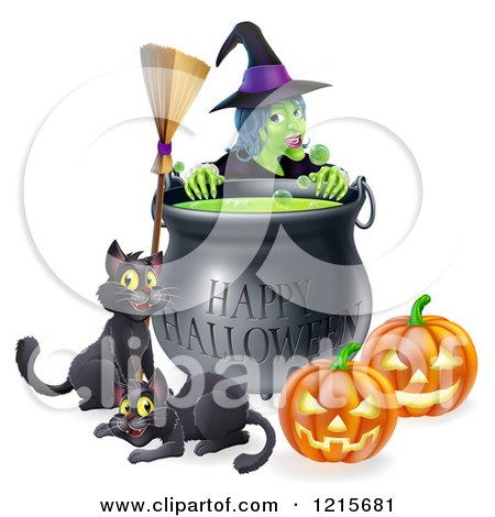 Clipart of a Witch Behind a Boiling Happy Halloween Cauldron with a Broomstick Black Cats and Jackolanterns - Royalty Free Vector Illustration by AtStockIllustration