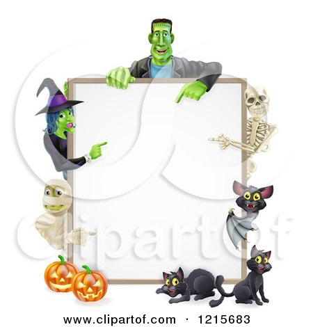 Clipart of a Witch Skeleton Mummy Bat and Frankenstein Pointing to a White Board Sign over Pumpkins and Black Cats - Royalty Free Vector Illustration by AtStockIllustration