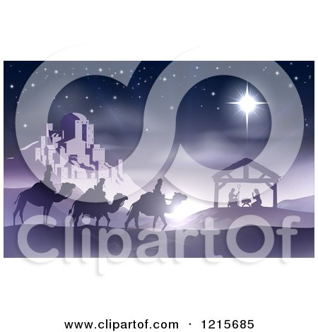 Clipart of a Purple Nativity Scene of Baby Jesus in the Manger with the Wise Men and Star of Bethlehem near the City - Royalty Free Vector Illustration by AtStockIllustration