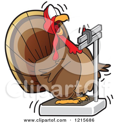 Clipart Of A Fat Turkey Bird Looking Shocked at its Weight on a Scale - Royalty Free Vector Illustration by Toons4Biz