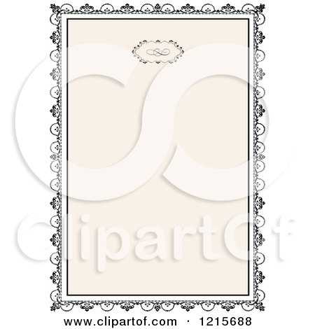 Clipart of a Vintage Wedding Invitation with Ornate Black Framing Tan - Royalty Free Vector Illustration by BestVector