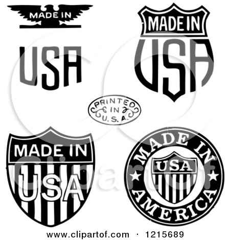 Clipart of Black and White Patriotic Made and Printed in USA Designs - Royalty Free Vector Illustration by BestVector