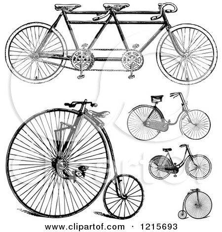 Clipart of Vintage Black and White Bicycles - Royalty Free Vector Illustration by BestVector