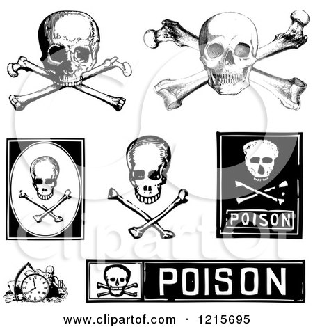 Clipart of Black and White Poison and Skull Designs - Royalty Free Vector Illustration by BestVector