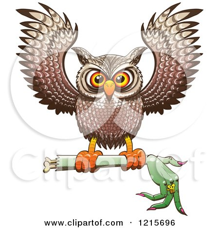 Clipart of a Halloween Owl Flying with a Severed Witch Arm - Royalty Free Vector Illustration by Zooco