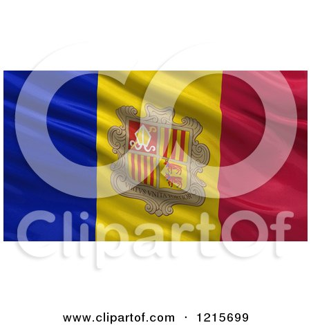 Clipart of a 3d Waving Flag of Andorra with Rippled Fabric - Royalty Free Illustration by stockillustrations