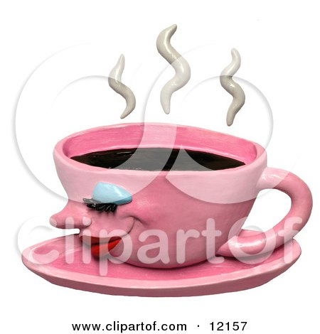 Clay Sculpture Clipart Steamy Pink Coffee Cup - Royalty Free 3d Illustration  by Amy Vangsgard