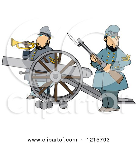 Clipart of Civil War Soldiers Holding a Rifle and Playing a Bugle Horn Beside a Cannon on the Battlefield - Royalty Free Vector Illustration by djart