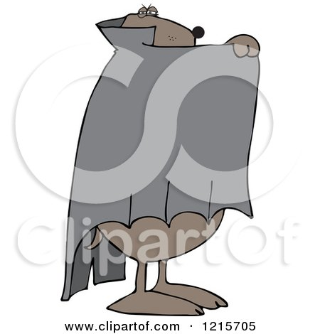 Clipart of a Halloween Dog Hiding Behind a Cape in a Vampire Dracula Costume - Royalty Free Vector Illustration by djart