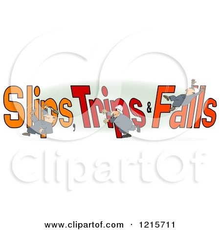 Clipart of a Slipping Tripping and Falling Man over Slips Trips and Falls Text over Green and White - Royalty Free Illustration by djart