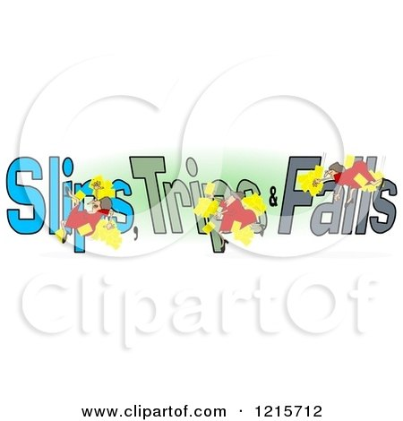 Clipart of a Slipping Tripping and Falling Woman over Slips Trips and Falls Text over Green and White - Royalty Free Illustration by djart