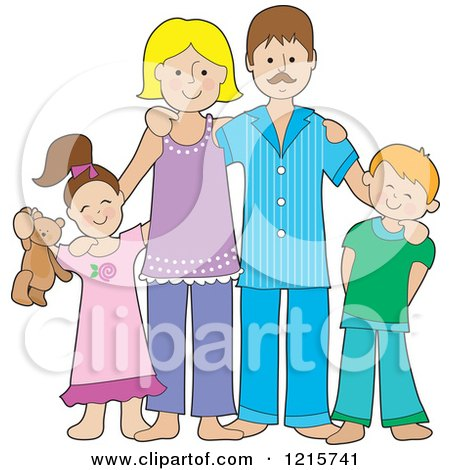 Clipart of a Happy Caucasian Family of Four Posing in the Pajamas - Royalty Free Vector Illustration by Maria Bell