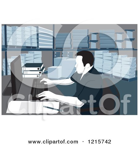 Clipart of a Woodcut Man Working on a Computer in a Warehouse with Shelves of Paper Products - Royalty Free Vector Illustration by David Rey