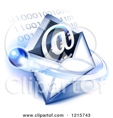 Clipart of an Email Icon with an Envelope Orb and Binary Code - Royalty Free Vector Illustration by Oligo