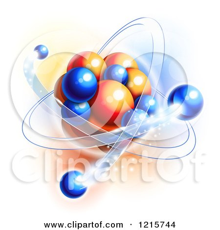 Clipart of Blue and Orange Molecule Atom and Particles Depicting Motion - Royalty Free Vector Illustration by Oligo