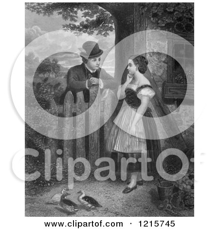 Retro Clipart of a Vintage Young Couple Talking at a Fence with Ducks in the Yard, in Black and White - Royalty Free Illustration by Picsburg