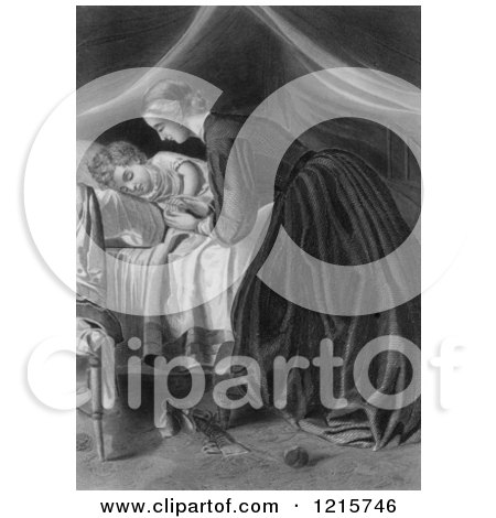 Retro Clipart of a Vintage Nurturing Mother Tucking a Child in to Bed, in Black and White - Royalty Free Illustration by Picsburg