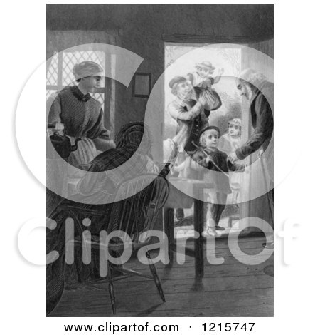 Retro Clipart of Vintage Parents and Grandparents with Children at a Door in Black and White - Royalty Free Illustration by Picsburg
