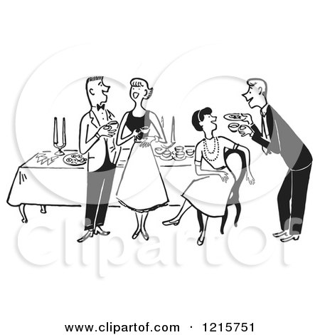 Cartoon of a Gentleman Serving a Lady at a Party Table While a Couple Talks, in Black and White - Royalty Free Vector Clipart by Picsburg