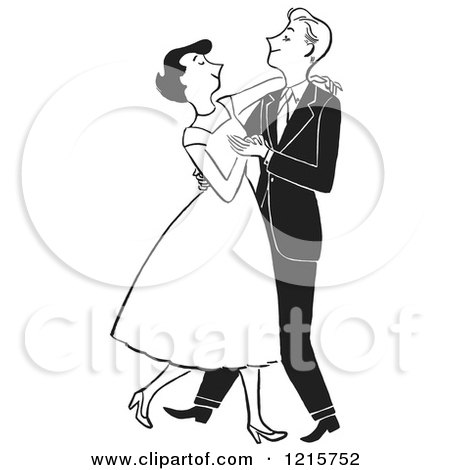 Cartoon of a Formal Polite Couple Dancing, in Black and White - Royalty Free Vector Clipart by Picsburg