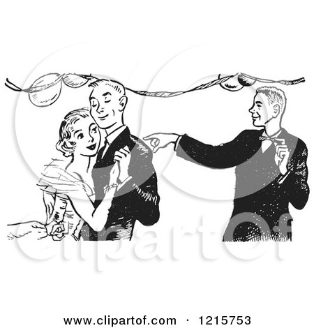 Retro Clipart of a Teen Boy Pointing by a Dancing Couple at High School Prom in Black and White - Royalty Free Vector Illustration by Picsburg