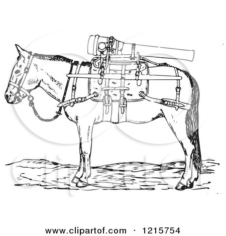 Retro Clipart of a Vintage Gun Mule with Weapons in Black and White - Royalty Free Vector Illustration by Picsburg
